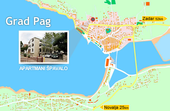 Map Of City Of Pag Island Of Pag Croatia Spavalo Pag